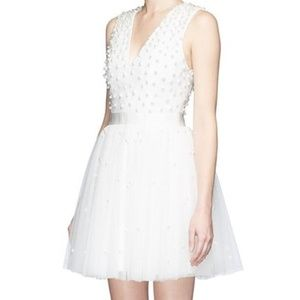 Alice+Olivia Shanda Tulle Dress with Pearls